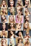 Skönhetblondincollage Framsidor av kvinnor Arkivfoto
