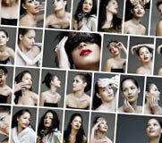skönhetcollage vänder modesmink mot Arkivfoto