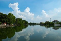 Skönheten av himlen som reflekterar vattnet Arkivbilder