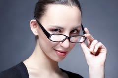 skönhetexponeringsglaskvinna Arkivbild