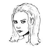 Skönhetflickaframsidan skissar också vektor för coreldrawillustration Royaltyfri Fotografi