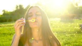 Skönhetflickan med långt hår som blåser bubblatvål i grönt gräs, parkerar naturen Lycklig härlig kvinna utomhus Tonårigt tonårs- lager videofilmer