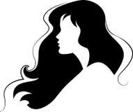 skönhetflickasilhouette Royaltyfri Illustrationer