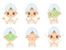 Skönhetframsidamaskering Kvinnahudomsorg, lokalvård och borsta för framsida Illustration för tecknad film för vektor för aknebeha stock illustrationer