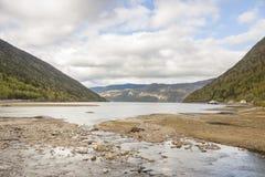 Skönhetkustlinje i Norge, nära Rjukan Arkivfoto