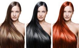 Skönhetkvinna. långt hår arkivfoton