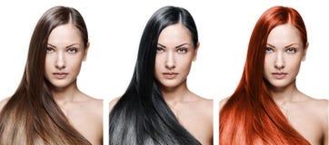 Skönhetkvinna. långt hår arkivbilder