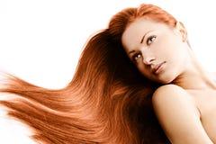 Skönhetkvinna. långt hår Royaltyfria Foton