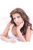 Skönhetkvinna med långa hår Arkivfoto