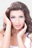 Skönhetkvinna med långa hår Arkivfoton