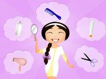 Skönhetkvinna med långt sunt och skinande slätt svart hår royaltyfri illustrationer