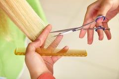 Skönhetkvinna med långt sunt och skinande slätt svart hår Kvinnafrisyr cutting Royaltyfri Bild
