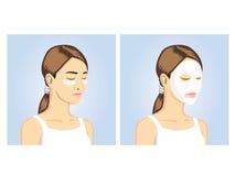 Skönhetkvinnor med ansiktsbehandling- & ögonmaskeringen royaltyfri illustrationer