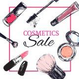 Skönhetlagerbaner med smink och skönhetsmedelobjekt: läppstift kräm, borste royaltyfri illustrationer