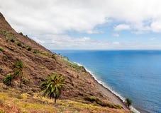 Skönhetlandskapet från la gomera i kanariefågelöar Arkivfoto