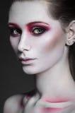 Skönhetmodellflicka med rosa färgsmink arkivfoto