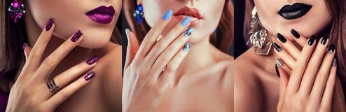Skönhetmodemodellen med olikt smink och spikar bärande smycken för designen Uppsättning av manikyr Tre stilfulla blickar arkivfoto