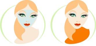 skönhetomsorgskvinnor stock illustrationer
