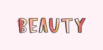 Skönhetord som är skriftligt med den kalla skraj idérika calligraphic stilsorten som dekoreras av färgrika fläckar och prickar Mo royaltyfri illustrationer