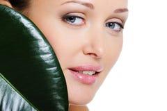 skönheträkningen vänder henne mot leafkvinnan royaltyfria foton