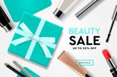 SkönhetSale mall med kosmetiska produkter, gåvaaskar, annonsbanderoller För vektorillustration för modern design begrepp för royaltyfri illustrationer