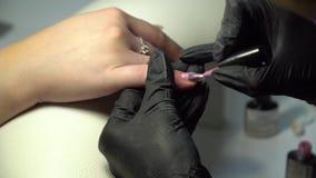 Skönhetsalong beauticianen som kvinnlign spikar, spikar den polerande salongen Manikyristen gör en manikyr till en flicka Närbild stock video