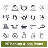 Skönhetsalong, Spa tillvägagångssätt och skönhetsmedelsymboler stock illustrationer
