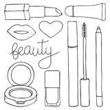 Skönhetsmedel eller sminkuppsättning Hand-dragen tecknad filmsamling av kosmetiska produkter - kantglans, läppstift, mascara, bly Arkivbilder