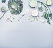 Skönhetsmedel för hudomsorg och ansikts- arkmaskering Olik skönhetsmedelprodukt: serum kräm och stelnar med tropiska sidor och bl royaltyfria foton