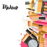 Skönhetsmedel för skincare och makeup Bakgrund för katalog eller advertizing vektor illustrationer