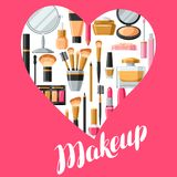Skönhetsmedel för skincare och makeup Bakgrund för katalog eller advertizing royaltyfri illustrationer