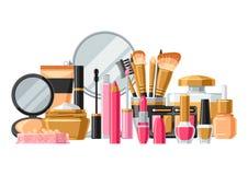 Skönhetsmedel för skincare och makeup Baner för katalog eller advertizing stock illustrationer
