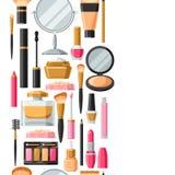 Skönhetsmedel för skincare och makeup Sömlös modell för katalog eller advertizing vektor illustrationer