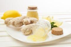 Skönhetsmedel hemlagade för ingefära, salta och nödvändiga oljor för citron, på whi Arkivfoto