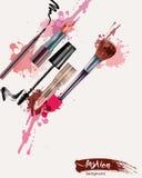 Skönhetsmedel och modebakgrund med sminkkonstnären anmärker: läppstift kräm, borste vektor stock illustrationer