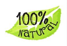 Skönhetsmedel och skönhetetikett - naturlig 100% Arkivfoto