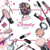 Skönhetsmedel och skönhetvektorbakgrund med sminkkonstnär- och friseringobjekt: läppstift kräm, borste vektor illustrationer