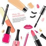 Skönhetsmedel och tillbehör för salong för manikyr för skönhetsalong Royaltyfria Bilder