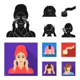 Skönhetsmedel, salong, hygien och annan rengöringsduksymbol i svart, lägenhetstil Servett som är hygienisk, frisör, symboler i up royaltyfri illustrationer