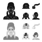 Skönhetsmedel, salong, hygien och annan rengöringsduksymbol i svart, monokrom stil Servett som är hygienisk, frisör, symboler i u stock illustrationer
