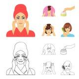 Skönhetsmedel, salong, hygien och annan rengöringsduksymbol i tecknade filmen, översiktsstil Servett som är hygienisk, frisör, sy royaltyfri illustrationer