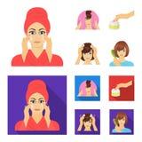 Skönhetsmedel, salong, hygien och annan rengöringsduksymbol i tecknade filmen, lägenhetstil Servett som är hygienisk, frisör, sym royaltyfri illustrationer