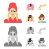 Skönhetsmedel, salong, hygien och annan rengöringsduksymbol i tecknade filmen, monokrom stil Servett som är hygienisk, frisör, sy stock illustrationer