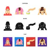 Skönhetsmedel, salong, hygien och annan rengöringsduksymbol i tecknade filmen, svart, lägenhetstil Servett som är hygienisk, fris royaltyfri illustrationer
