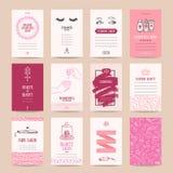 Skönhetsmedel shoppar, makeupkonstnären Business Card Templates royaltyfri illustrationer