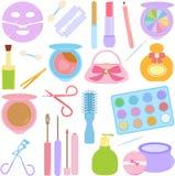 Skönhetsmedel smink i pastell Arkivfoton