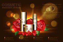 Skönhetsmedelannonsmall, tom kosmetisk orientering med röda rosor och kronblad på bakgrunden Royaltyfria Bilder