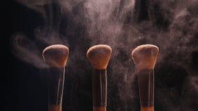 Skönhetsmedelborstar och färgrikt makeuppulver för explosion stock video