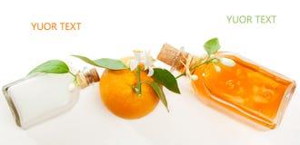 Uppsättning av den orange skönhetsmedlet Arkivbild