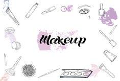 Skönhetsmedelprodukter, modemakeupbaner stock illustrationer